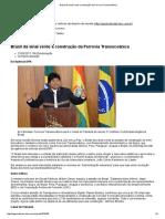 Brasil Dá Sinal Verde à Construção Da Ferrovia Transoceânica