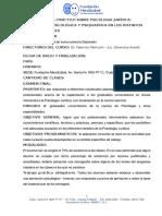 Curso Teórico – Práctico Sobre Psicologia y Psiquiatria Jurídica