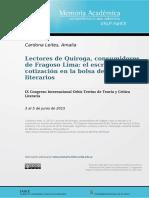 Amalia Cardona - Lectores de Quiroga, Consuidores de Fragoso Lima El Escritor y La Cotización