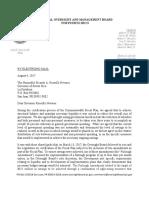 Carta al Gobernador Rosselló sobre el ajuste del Gobierno de Puerto Rico incluido en el Plan Fiscal Certificado
