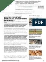 Apostas Esportivas Desbancam Jogo Do Bicho Em Alagoas - Gazeta de Alagoas - Evoluindo a Informação