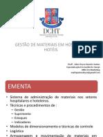 1ª Aula Gestão de Materiais Em Hospitais e Hotéis