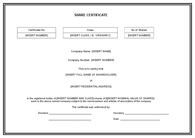 Editable Share Certificate Template Download – Shareholders Certificate Template