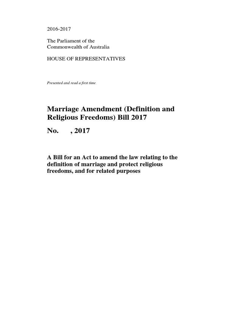 marriage amendment (definition and religious freedoms) bill 2017