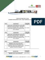 Precios Area 2016 (Trafos)