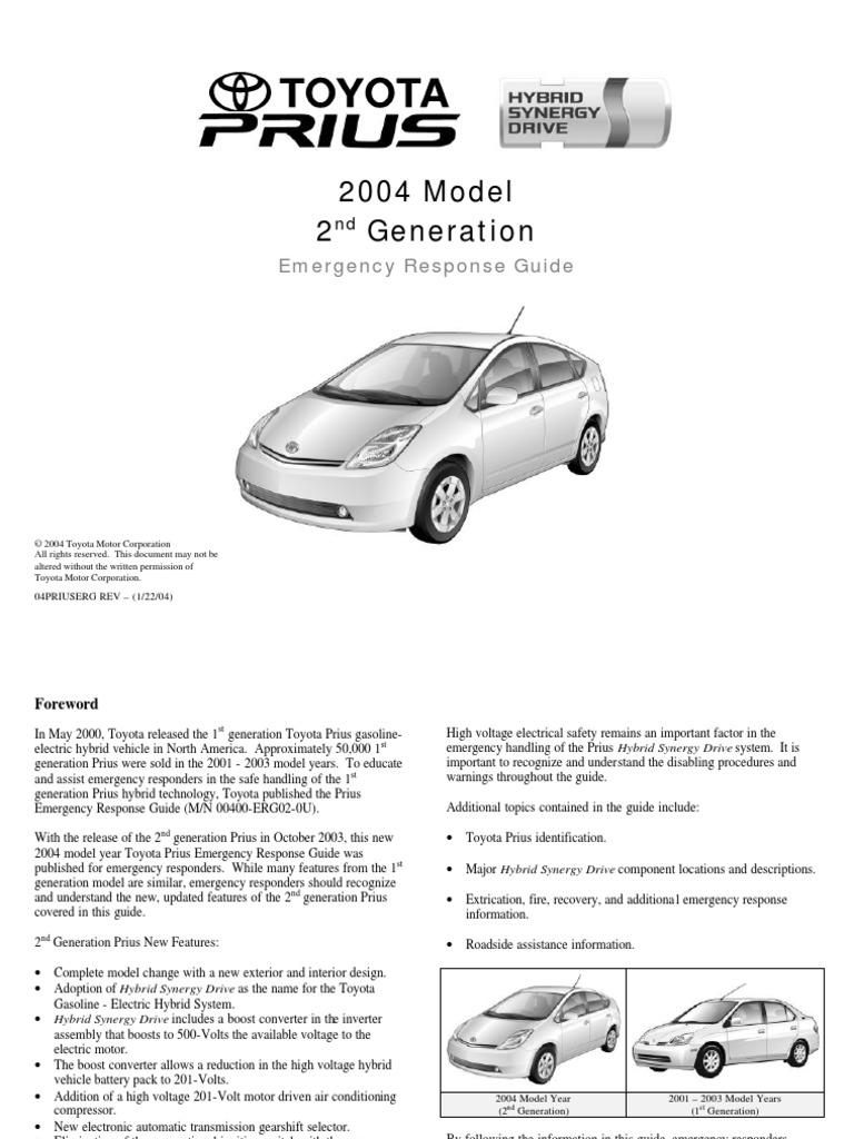 2ndprius pdf airbag hybrid electric vehicle rh scribd com toyota prius emergency response guide Crisis Response Guide