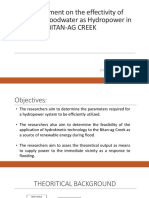 An Assessment on the Effectivity of Harnessing Floodwater as Hydropower in BITAN-AG CREEK