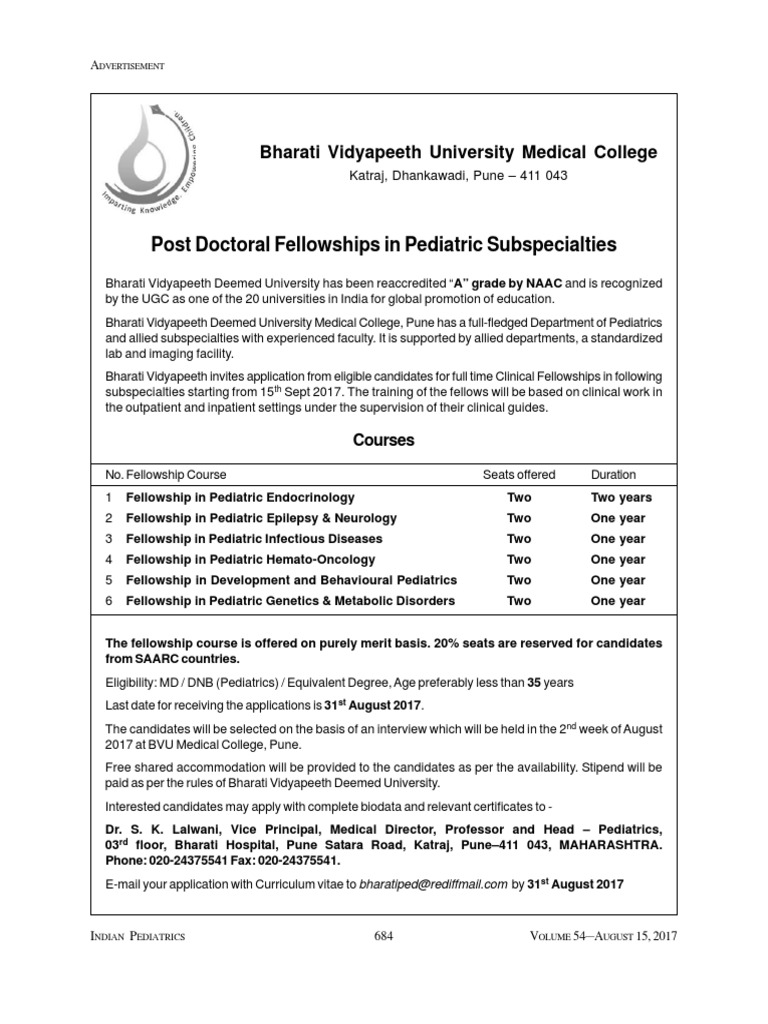 Post Doctoral Fellowships in Pediatric Subspecialties