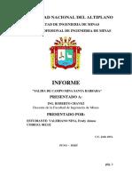 Informe de Salida de Campo Mina Santa Barbara 2012-1