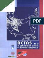 ACTAS DE LA IV CONFERENCIA ESTATAL DE PERSONAS SORDOCIEGAS