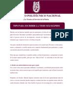 IPN Tips Para escribir la tesis más rápido.