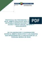 PROTOCOLO DESPROTECCIÓN Y MALTRATO, ACOSO Y ABUSO SEXUAL INFANTIL Y ADOLESCENTE