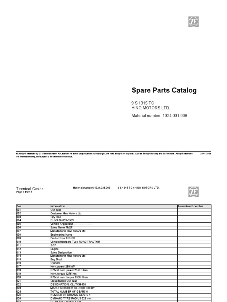 ZF 9S1315TO Hino Spare Parts Catalog