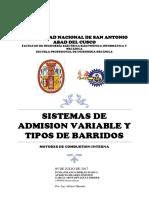 Sistemas de Admision Variable y Tipos de Barridos