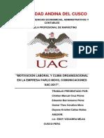 Motivacion Laboral y Clima Organizacional en La Empresa Parlo Movil Comunicaciones Sac-2017