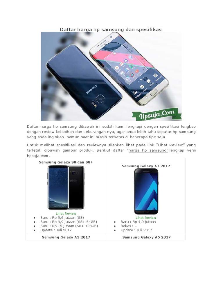 Daftar Harga Hp Samsung Dan Spesifikasi