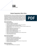 Student Organization Officer Roles