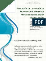 Ppt Aplicaciones de La Ecuacion de Richardson y Zaki