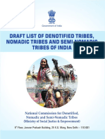 Draft List of Denotified Tribes - Ministry of Social Justice