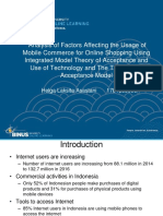 Analysis of Factors Affecting the Usage of Mobile Commerce for Online Shopping Using Integrated Model Theory of Acceptance and Use of Technology and The Technology Acceptance Model