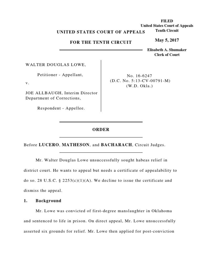 Lowe V Allbaugh 10th Cir 2017 Actual Innocence Appeal