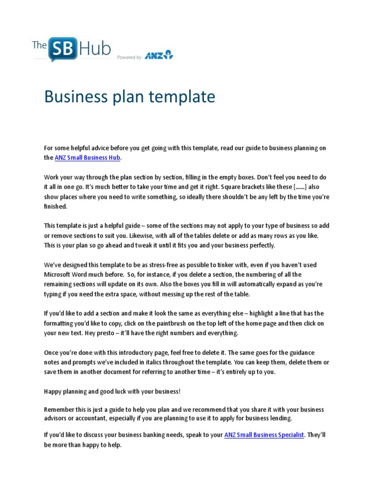 ANZ Business Plan Template Swot Analysis E Commerce - Small business plan templates