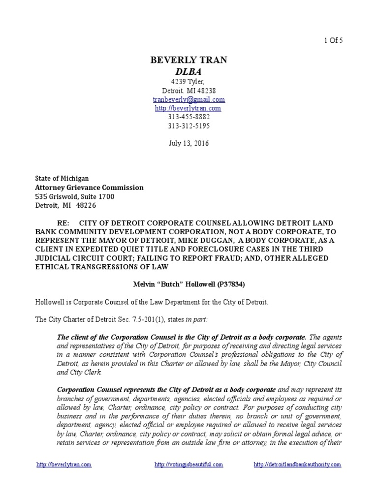 Michigan attorney grievance commission request for investigation michigan attorney grievance commission request for investigation of city of detroit corporate counsel melvin butch hollowell re detroit land bank aiddatafo Choice Image