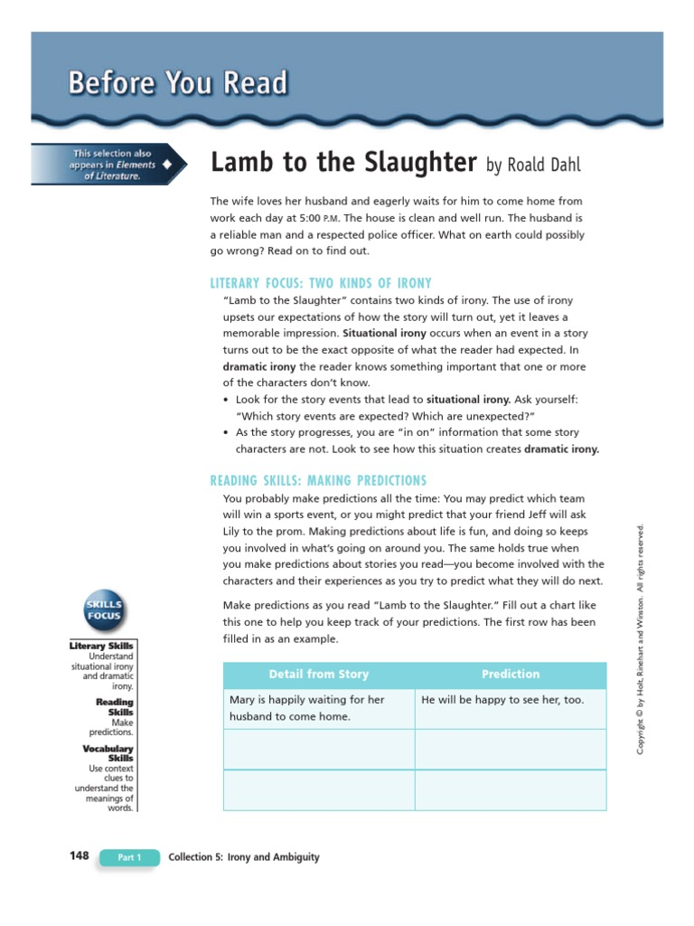 dramatic irony in lamb to the slaughter