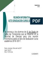 Reunión Informativa Alumnos Graduación Curso 2016-2017