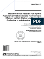 The Effect of Swirl Ratio and Fuel Injection Parameters on CO Emission and Fuel Conversion Efficiency for High-Dilution, Low-Temperature Combustion in an Automotive Diesel Engine