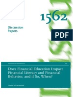 Does Financial Education Impact Financial Behavior, And if So, When - Kaiser and Menkhoff (2016)