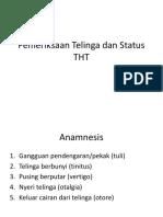 Pemeriksaan Telinga Dan Status THT