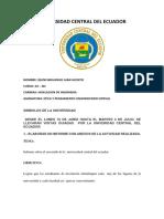 Univerdidad Central Del Ecuador Informe Juanito