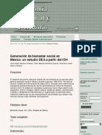 Generación de bienestar social en México