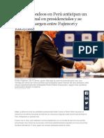 Últimos Sondeos en Perú Anticipan Un Ajustado Final en Presidenciales y Se Estrecha Margen Entre Fujimori y Kuczynski