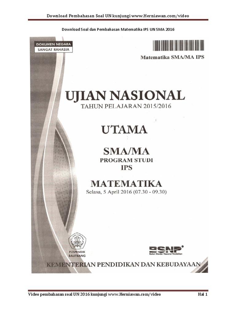 Download Pembahasan Soal Matematika Ips Un Sma 2016 1