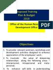 Proposed Training & Development Budget 2018