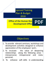 Proposed Training & Development Budget 2018