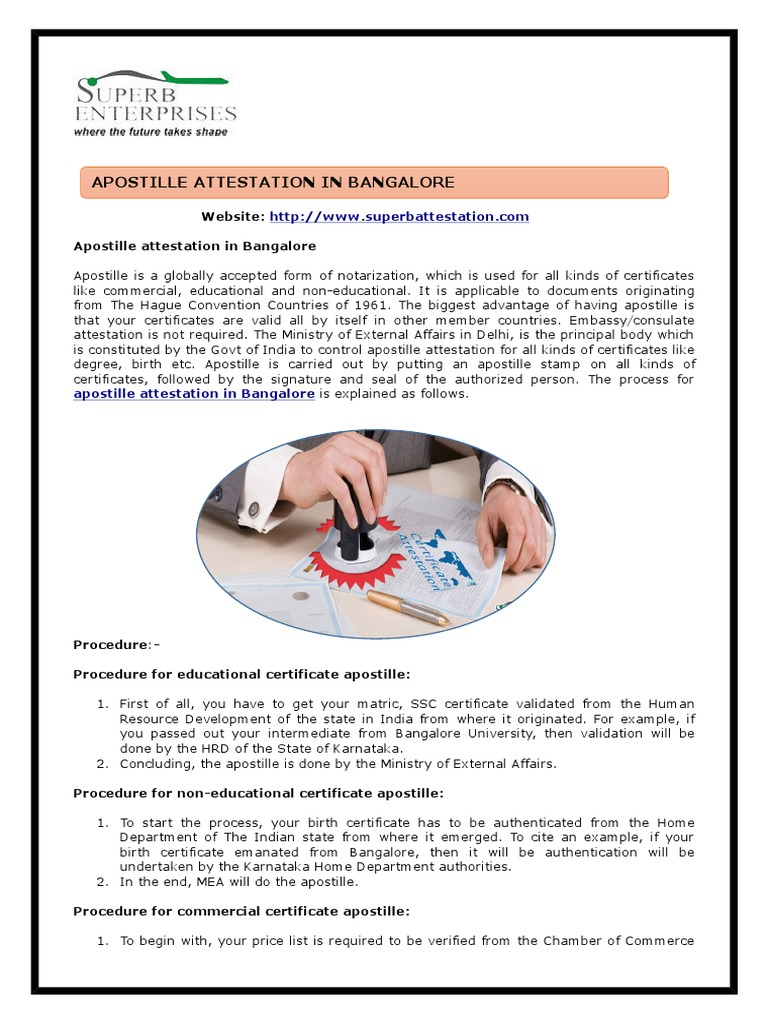 Apostille Attestation In Bangalore Ppt Business Computing And