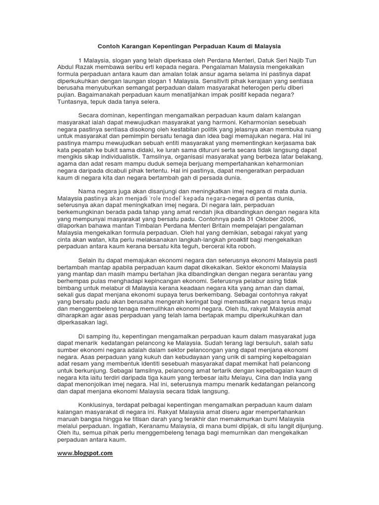 Contoh Karangan Kepentingan Perpaduan Kaum Di Malaysia