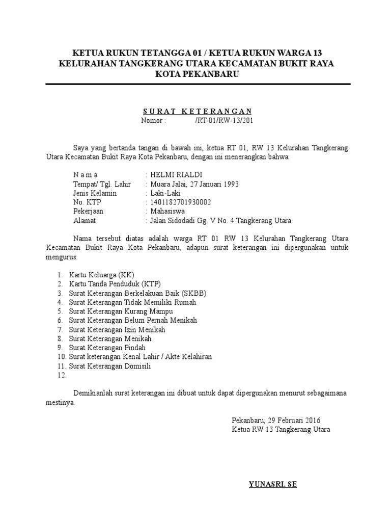 Contoh Surat Pernyataan Rt Simak Gambar Berikut