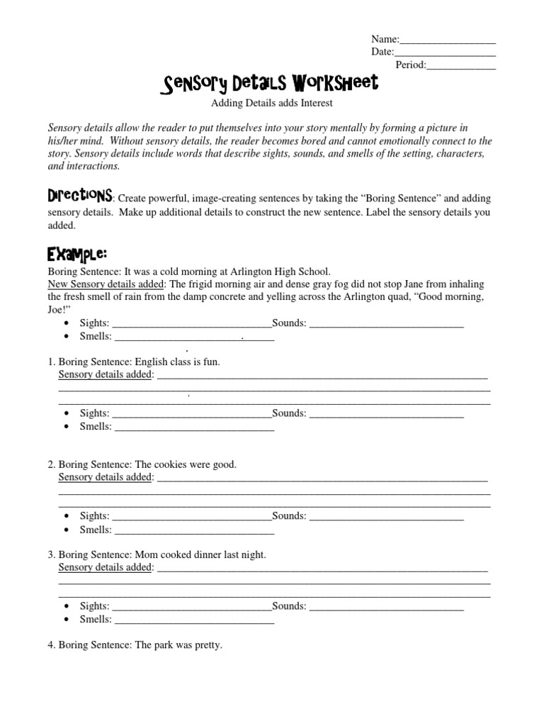 Uncategorized Sensory Details Worksheet descriptive writing lesson plan for differentiated learning 2 leisure