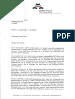2017 07 20 Brief OM Aan Schotte Aangifte Tegen McWilliam Vanwege Valse Aangifte