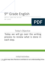 9th grade english unit 9 1 first week
