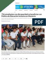 25-07-2017 756 estudiantes con discapacidad se benencian con Política de Educación Inclusiva en Montería