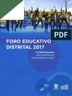 Orientaciones Del Foro Educativo Distrital 2017
