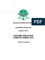 Malawi Customs and Excise Tariff 2017-2018