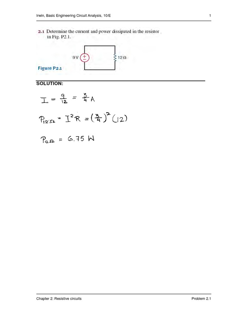 Basic engineering circuit analysis 10th edition irwin solution basic engineering circuit analysis 10th edition irwin solution manualpdf fandeluxe Image collections