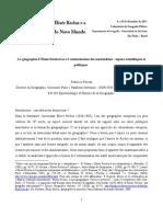La géographie d'Élisée Reclus face à l'extermination des Amérindiens - enjeux scientifiques et politiques 2011