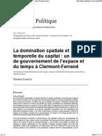 Domination Spatiale Et Temporelle Du Capital_ Un Siècle de Gouvernement de l'Espace Et Du Temps à Clermont-Ferrand - 2016